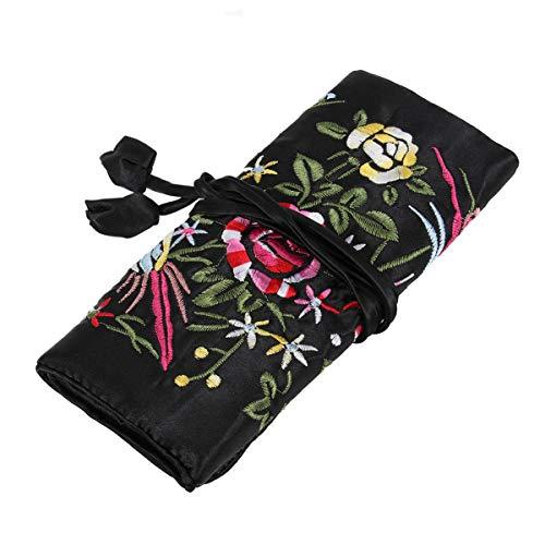 TOPBATHY Bolsa de Rollo de Joyas de Flores Bordadas a Mano Bolsa de Almacenamiento cosmético con Cierre de Corbata de Viaje (Negro)