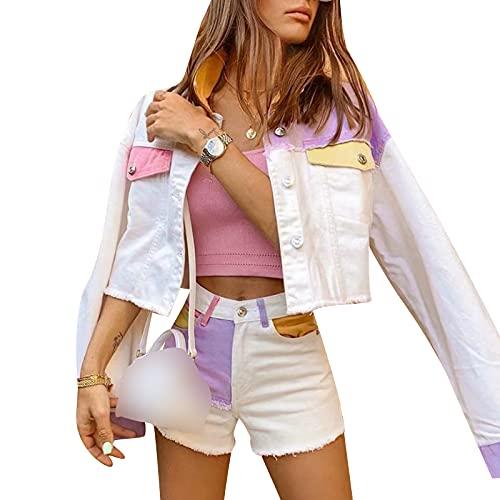 Giacca Jeans Casuale per Donna Giacca Jeans Sfrangiati Manica Lunga Cappotto Elegante Bottoni in Metallo per Ragazza Giacca Jeans Fashion S-L (Bianco, S)