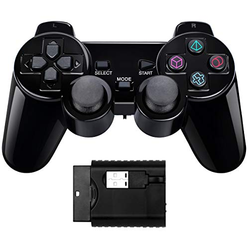 Wireless Double Shock Game Controller kompatibel mit PS1/PS2/PS3/PC (schwarz)