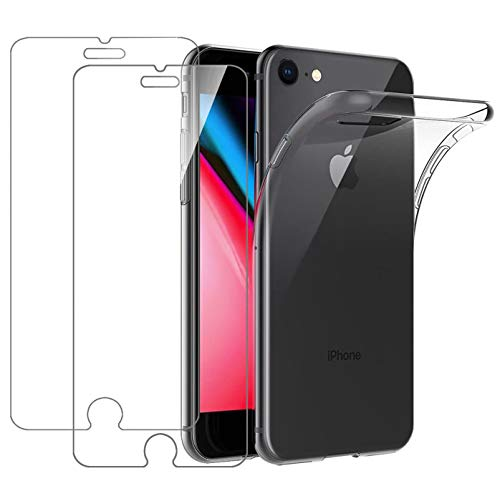 Leathlux Cover iPhone 8 / iPhone 7 / iPhone SE 2020 Trasparente + 2 × Pellicola Vetro Temperato, Custodia iPhone 8 Silicone Morbido Protettivo TPU Gel Cover per iPhone SE 2020 / iPhone 8/7 4.7'