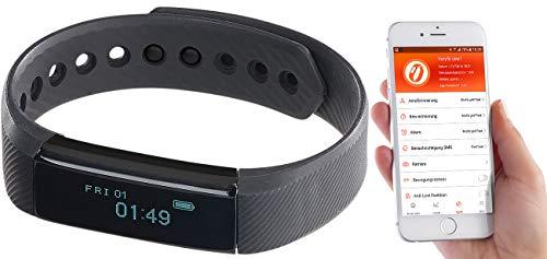 Newgen Medicals Schrittzähler: Fitness-Armband FBT-25, Bluetooth, Benachrichtigungen, OLED, IP67 (Uhr mit Vibrationsalarm)