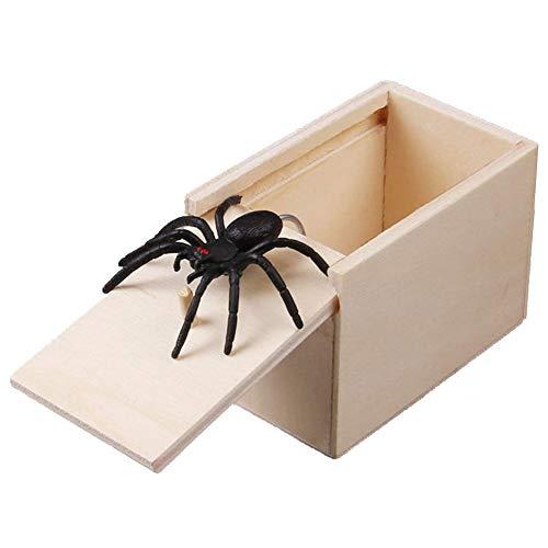 Gmxop 1 Unids Madera Prank Spider Scare Box Case Broma Realista Sorpresa Divertida Juguete Gag