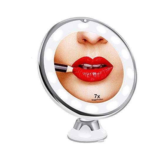 LQ&XL Kosmetikspiegel 10-Fach Vergrößerung LED Beleuchtet Schminkspiegel 360 ° Schwenkbar mit Integriertem Saugnapf Rasierspiegel Wandspiegel vergrößerungsspiegel Batteriebetrieb