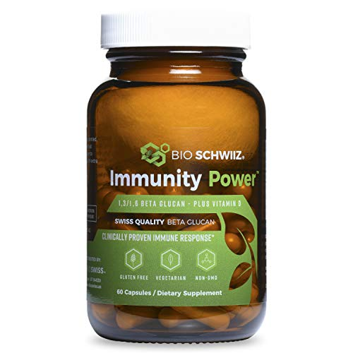 Bio Schwiiz Immunity Power Immune Support - Beta Glucan 1,3/1,6D with Vitamin D - Highest Bioavailability - Extra Strength - 60 Gluten-Free Vegan Capsules (420 mg)