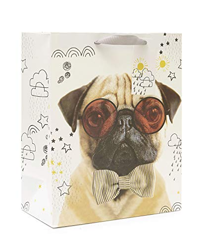 UK Greetings 587783-0-1 Geschenktüte mit lustigem Mops