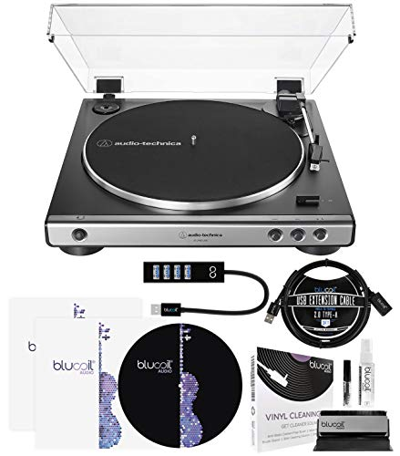 Audio-Technica AT-LP60XUSB USB Belt-Drive Turntable (Gunmetal) Bundle with Blucoil Type-A Hub, 3' USB Extension Cable, 2-in-1 Vinyl Cleaning Kit, 2X LP Inner Sleeves, and 12