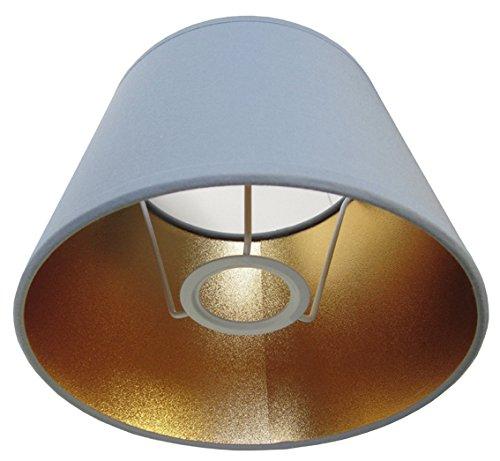 Tisch-Lampenschirm Chintz *rund*, Chintz grau/innen Goldfolie seidenmatt Du=20 / Do=15/ H=12cm Befestigung unten E27 (optional lieferbar Reduzierring auf E14) (Amazon B06XHPVZ4G))