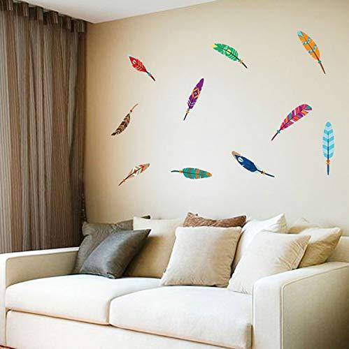 Farbige Federkasten, Glas-Kühlschränke, Waschmaschinen, Wanddekoration, Malerei, Wohnzimmer-Wandaufkleber, selbstklebend