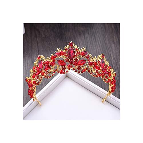 Rode Kristal Bruids Kroon Tiaras Goud Diadeem Tiaras Voor Vrouwen Bruid Bruiloft Haaraccessoires Big Red