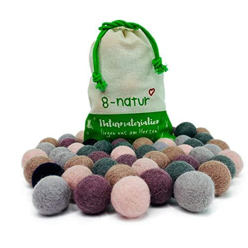 """Colección llena de color de 50 bolas de fieltro """"Jubilación Mix"""" de 2,2 cm de grosor, hechas de pura lana merino para elaborar guirnaldas, móviles y macetas, o solo para decoración."""