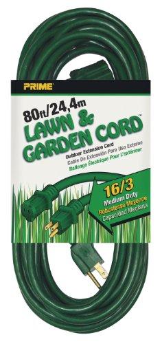 Prime EC880633 80-Foot 16/3 SJTW Lawn and Garden Outdoor Extension Cord, Green