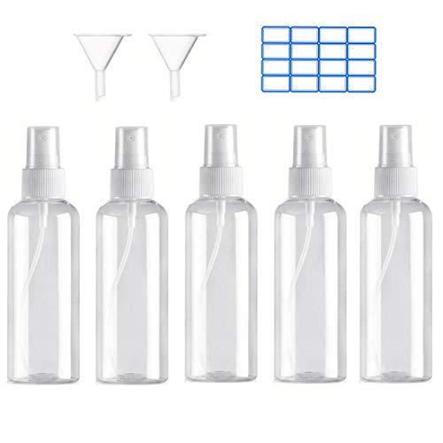 Iindes5PCS Flacone Spray Atomizzatore Vuoto Plastica Set Di Bottiglie Spray Da Viaggio Trasparente 100ML