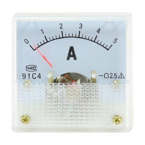 uxcell アナログ電流計 ダイヤル電流計 パネルメーター 91C4 DC 0-5A ホワイト クリア