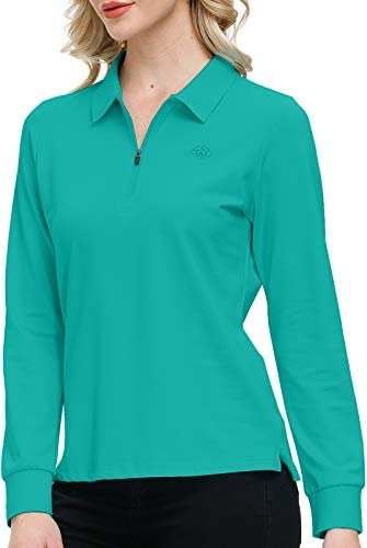 Long Sleeve Golf Polo Shirts for Women Performance Sports Shirts Golf Tops for Tennis Woukout product image