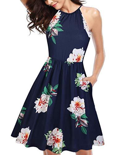 KILIG Women's Halter Neck Floral Summer Dress Strap Sundress with Pockets (A7-Floral,X-Large)