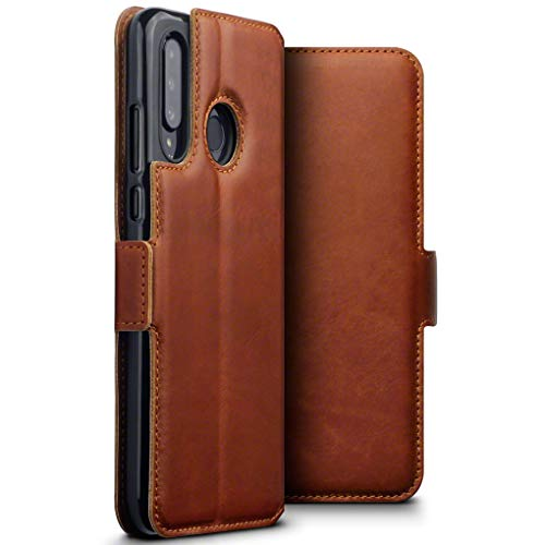 TERRAPIN, Kompatibel mit Huawei P30 Lite Hülle, Premium ECHT Spaltleder Flip Handyhülle Huawei P30 Lite Hülle Tasche Schutzhülle, Cognac