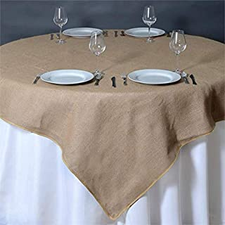 "Efavormart CHAMBURY CASA Fine Rustic Burlap Tablecloth/Square Tablecloth Overlay 72"" x 72"" Natural Tone Square Tablecloth Cover"