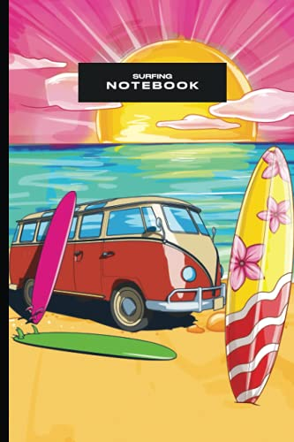 Surfing Notebook: Retro Colorful Lined Journal For Surfboarder Surfboard Ocean Lover