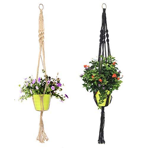 Panier de fleurs en macramé tressé à la main en jute et toile de chanvre