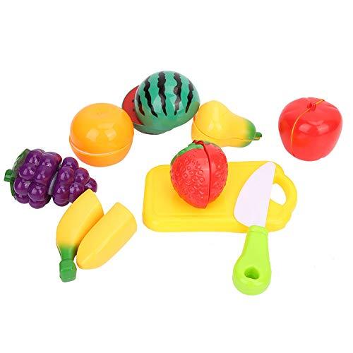 Juguetes de Frutas Cortadas en la Cocina, 9piezas Bebé Plástico Comida Juego de imaginación Corte Cuchillo Colorido Niños pequeños Juego de Roles al Aire Libre Interior Cocina