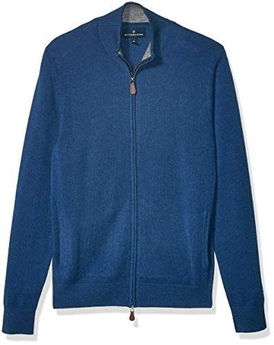 Amazon Brand - BUTTONED DOWN Men's 100% Premium Cashmere Full-Zip Sweater, Blue, XXX-Large