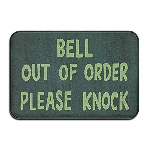 Wyuhmat Mats Bell Out of Order Please Knock Theme Printed.Printing Welcome Entrance Rug Floor Indoor Outdoor Non-Slip Doormats (15.7x23.6in)