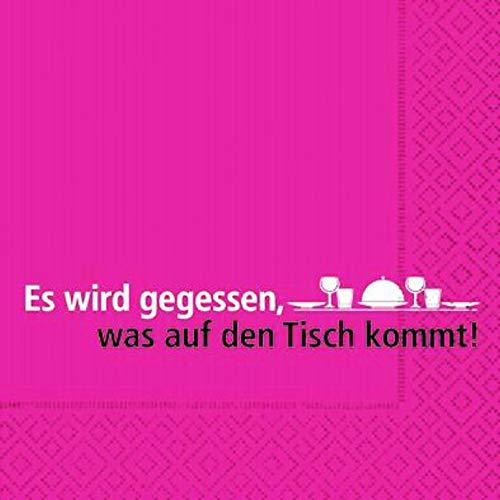 AvanCarte Servietten Spruch Text Essen Tisch 20 Stück, 3-lagig 33x33cm