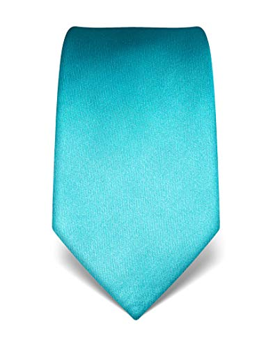 Vincenzo Boretti Herren Krawatte reine Seide uni einfarbig edel Männer-Design zum Hemd mit Anzug für Business Hochzeit 8 cm schmal/breit türkis