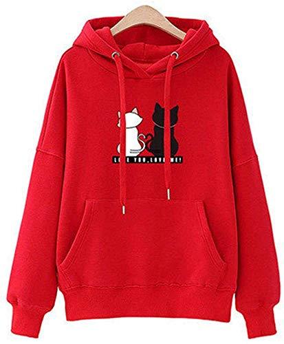 ccaat Sweat Capuche Femme, Sweat-Shirt Fille Ado Automne Mignon Chat Pull Oversize Chic Manteau Pas Cher Mode Sweat Shirt Tee Shirt Streetwear Veste Gilet Top T-Shirt (Rouge,L)