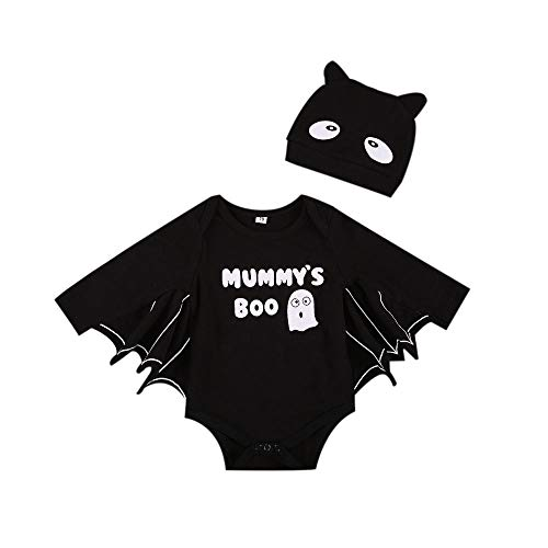 Newborn Baby Girl Boy Halloween Cartoon Bat Tuta Tuta Manica Lunga Playsuit Pagliaccetto con Cappello 2 Pezzi Set Completo (Black, 18-24 Months)