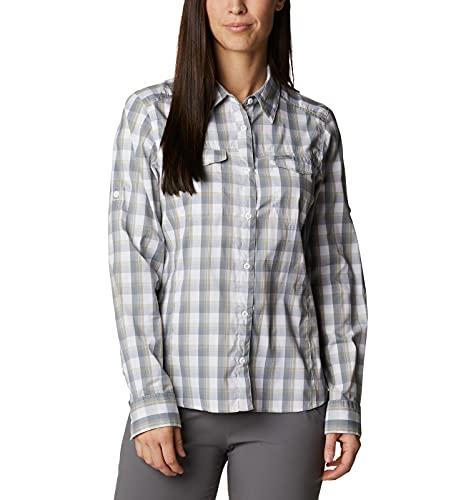 Columbia Women's Silver Ridge Lite Long Sleeve Shirt, White Plaid, Large