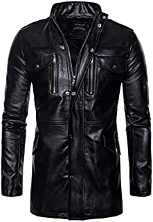 Mid-length men's stand collar four-pocket locomotive leather jacket L