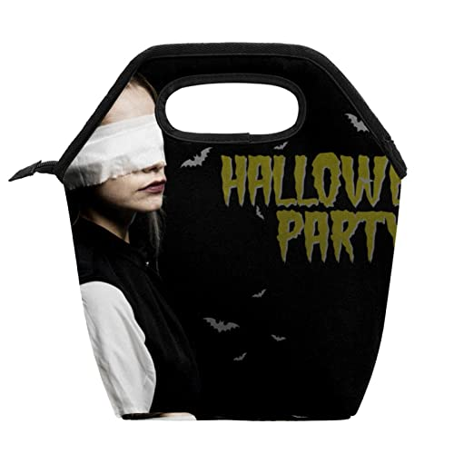Bolsa de comida para disfraz de Halloween para mujer con cremallera aislada, bolsa de almuerzo al aire libre, bolsa de almuerzo reutilizable para adolescentes