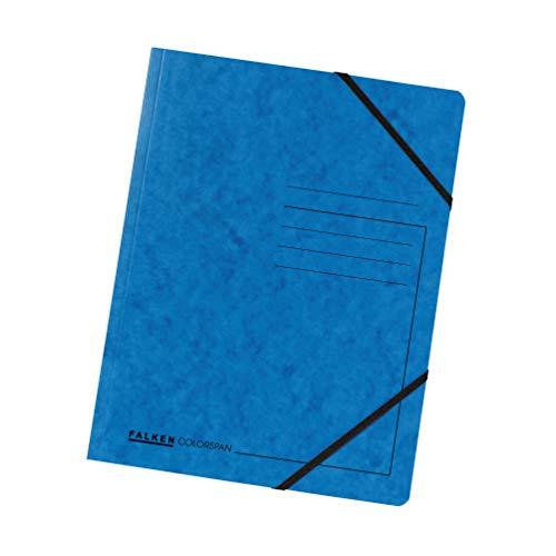 Original Falken 5er Pack Premium Eckspanner-Mappe. Made in Germany. Aus extra starkem Colorspan-Karton DIN A4 mit 2 Gummizügen blau Sammelmappe Dokumentenmappe ideal für Büro und Schule
