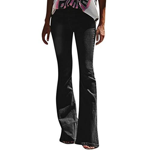 Petalum Damen Jeans Schlaghose Flared Bootcut Hose Mode Slim Fit High Waist Stretch Skinny Jeanshose Denim Pants mit Löcher