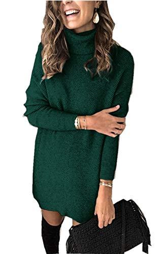 ZIYYOOHY Damen Strickkleid Rollkragen A-Linie Grobstrick Basic Pulloverkleid (S, Grün)