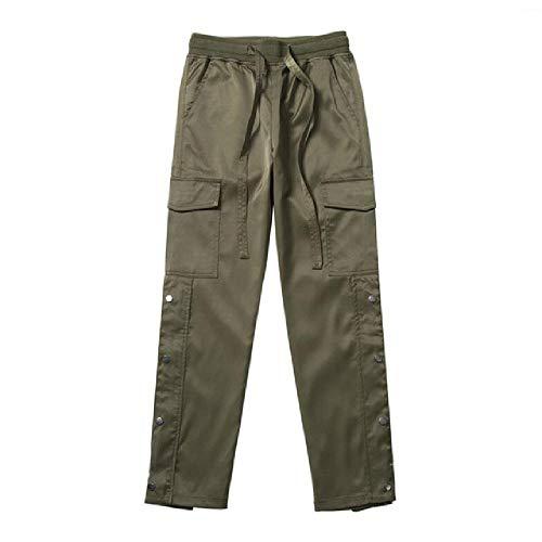 nobrand Nylon Snap Cargo Pants Herren Schwarz Streetwear Hip-Hop Biker Sweatpants mit Trägern Knöpfen Klettverschluss Hose Gr. 31-35, grün