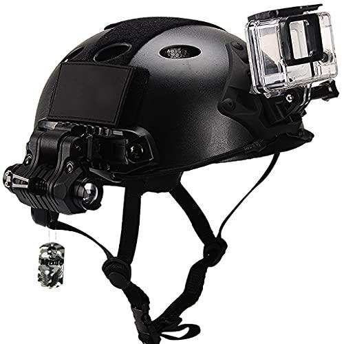 Casco Fast Airsoft, Juegos de ProteccióN TáCtica con Gafas RetráCtiles & Linternas Militares & Luces De SeñAl, Forro Epp Avanzado Adjunto, para Caza De Paintball Al Aire Libre,Sets a,L