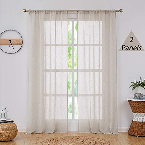 Central Park Linen Semi Sheer Window Curtain Panels Linen Texture Solid Window Treatment Sets Drape Pairs Rod Pocket Curtains for Living and Bedroom Farmhouse 84 inches Long, 2 Panels