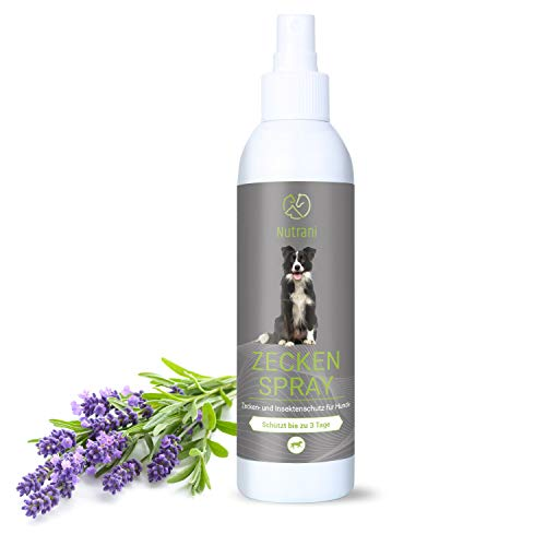 Nutrani Zeckenspray für Hunde | 200 ml – Zuverlässiger Zecken- und Insektenschutz gegen Zecken, Mücken, Flöhe, Grasmilben und andere Parasiten – Insektenspray schützt bis zu 3 Tage