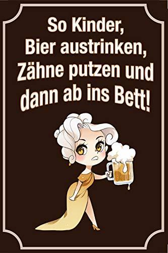 FSo Kinder Bier austrinken Zähne putzen Blechschild Schild gewölbt Metal Sign 20 x 30 cm