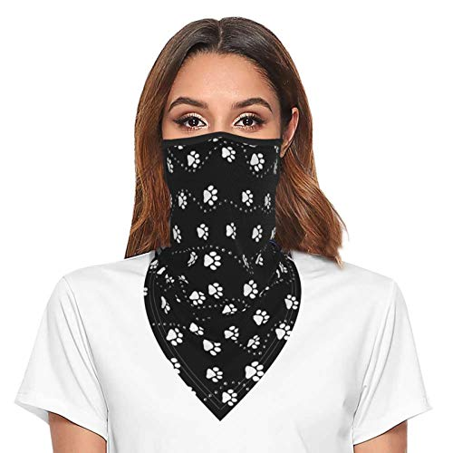 Black Dog Paw Bandana Face Mask with Ear Loops Neck Gaiter for Women Men Balaclava Face Cover Scarf