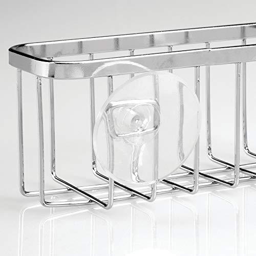 "iDesign Gia Stainless Steel Kitchen Sink Suction Organizer Basket - 5.75"" x 2.5"" x 2.25"", Polished"