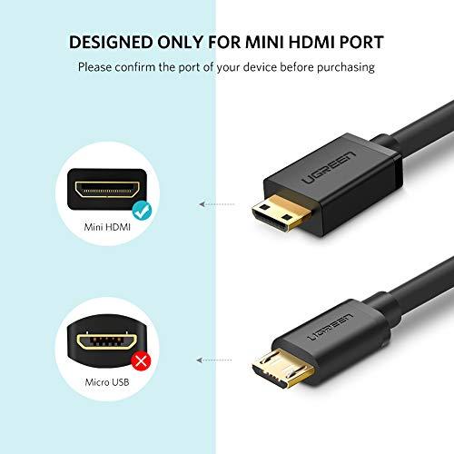 UGREEN Mini HDMI Adapter Mini zu Adapterkabel Mini HDMI stecker auf HDMI Buchse unterstützt 3D 4K Full HD, 1080P, ARC für Digitalkamera, SLR Camera, Grafikkarte, Tablet, Schwarz (Länge inkl. Stecker: 24cm /Länge ohne Stecker: 18cm)