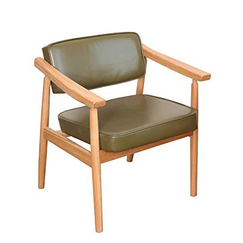 XBSD Retro Modern Pu Soft Pakket Houten Vrije tijd Stoel, Eetstoel, bureaustoel Computer Stoel, Rugstoel, Geschikt voor Binnen, Balkon, Groen