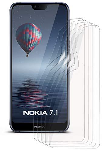 MoEx® Nokia 7.1 Schutzfolie Klar Bildschirm Schutz [Crystal-Clear] Screen Protector Display Handy-Folie Dünn Bildschirmschutz-Folie für Nokia 7.1 2018 Bildschirmfolie, 5X Stück