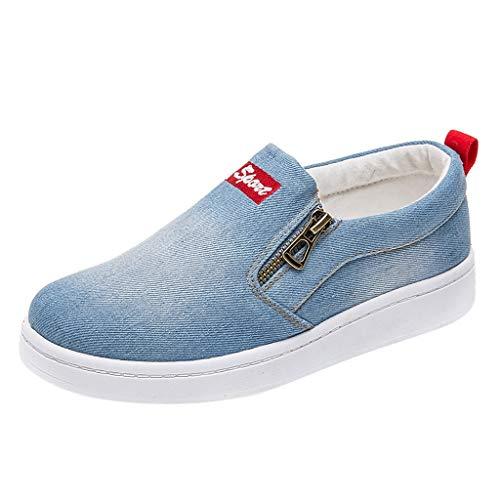 Precioul Damen Erbsen Schuhe mit flachem, Sommer Boden Single Badeschuhe Sport Laufschuhe Gemischte Farbe Turnschuhe Sneakers Jeansstoff mit doppeltem Reißverschlus