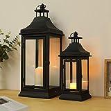 JHY DESIGN Juego de 2 faroles candelabros decorativos de velas de 33 y 49,5 cm de alto para exteriores farolillos para velas estilo vintage para jardín sala de estar interiores balcón (negro)