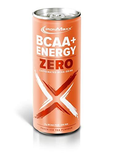 IronMaxx BCAA + Energy Drink Zero - erfrischendes, zuckerfreies Sportgetränk mit essentiellen Aminosäuren, Vitamin B6, B12, Vitamin C und Koffein - 1 x 330 ml (inkl. Pfand) - Peach Ice Tea