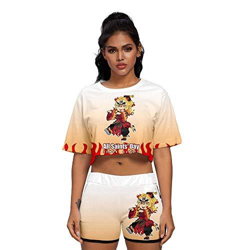 MSHAQT T-Shirt Shorts Demon Slayer Anime Cosplay Abbigliamento Sportivo Donna Pigiama Set Ragazze Comodi Morbidi Top Estivi Orange M